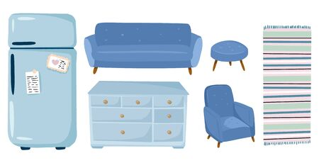 Stylish scandic living room interior elements - furniture, sofa, armchair, wardrobe, fridge, carpet. Home lagom decorations. Cozy season. Modern comfy apartment in hygge style