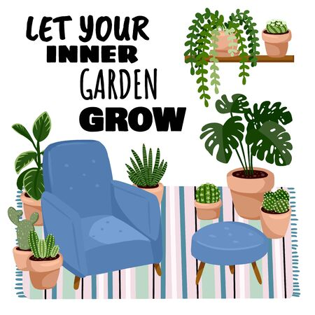 Let your inner garden grow postcard. Scandic stylish room interior with succulent plants. Home lagom decorations. Cozy season. Modern comfy apartment in hygge style
