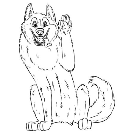 Cute suberian husky waving paw. Illustration of dog in lineart style. Malamute or Laika Dog. Domestic animal or pet in cartoon style