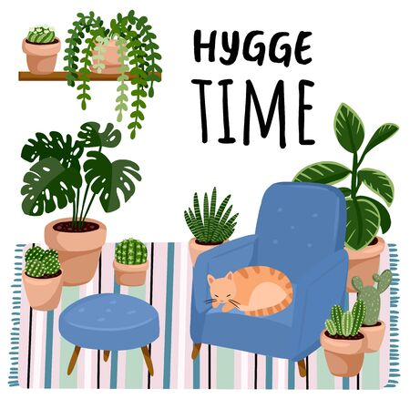 Hygge time postcard. Cat on a stool in scandic stylish room interior. Home lagom decorations. Cozy season. Modern apartment furnished in hygge style