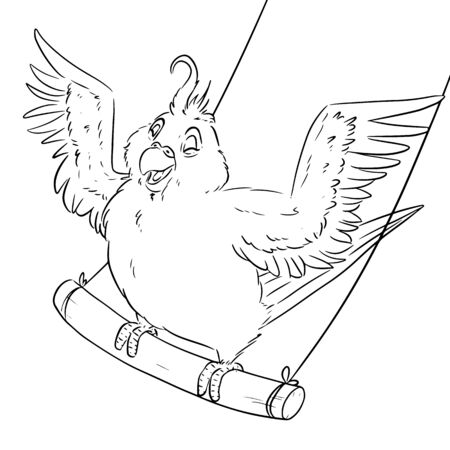 Cute comic style parakeet on swings with wings spread. Cartoon budgie on branch, adorable happy bird illustration