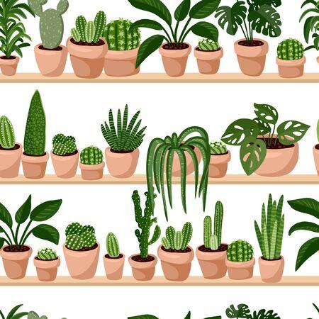 Hygge plantas suculentas en macetas en una fila de patrones sin fisuras. Azulejo de textura de estilo escandinavo acogedor lagom