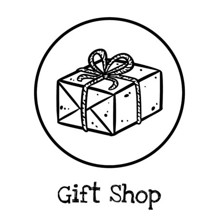 Cute cartoon post package doodle image. Gift shop . Media highlights symbol