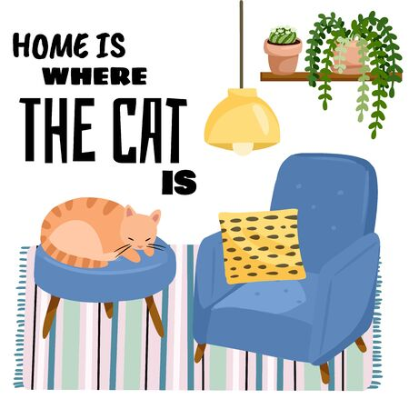 Home is where the cat is postcard. Cat on a stool in scandic stylish room interior. Home lagom decorations. Cozy season. Modern apartment furnished in hygge style