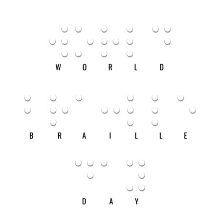 World Braille Day. Paper style vector banner. Simple element illustration white paper 3d concept