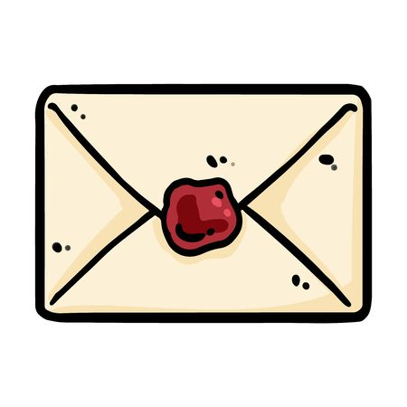Cute cartoon envelope doodle image. Snail mail . Media highlights graphic icon Ilustrace
