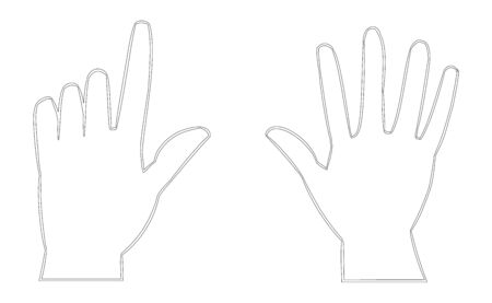 Two hands line vector icon isolated on white background. Hands touching something. Gentle touch feeling fingers. Blind people reading. Vector illustration
