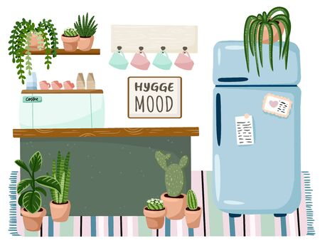 Small business coffee shop stylish cozy interior. Hygge mood plate. Shop or cafe promotion. Cozy lagom scandinavian style poster. Coffee machine, counter and fridge among succulent plants Illusztráció