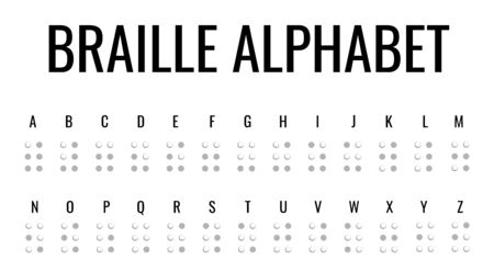 Braille alphabet. Paper style ABC for blind people vector poster. Simple element illustration white paper 3d style concept