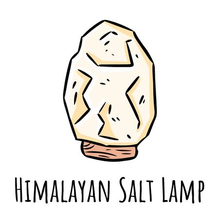 Himalayan white salt lamp doodle. Linear indigenous monogram with salt crystal. Relax concept symbol