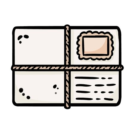 Cute cartoon envelope doodle image. Snail mail . Media highlights graphic icon Reklamní fotografie