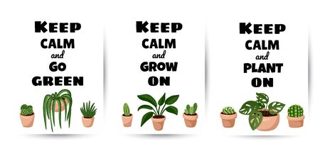 Keep calm and go green, grown on, plant on set of postcards. Collection of potted succulent plants flyers. Cozy scandinavian style posters