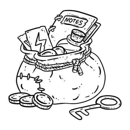 Adventurer pack lineart illustration for coloring. Fantasy character pouch with magical items. Treasure bag comic style doodle. Gold coins, key and potion