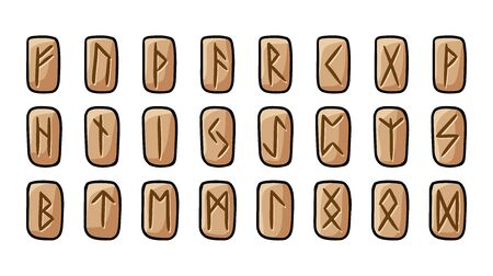 Set of wooden runes. Collection of hand drawn doodles of carved runic symbols on wood. Vector image of celtic glyphs