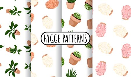 Hygge set of potted succulents plants and himalayan salt lamps seamless patterns. Cozy lagom scandinavian style background tiles