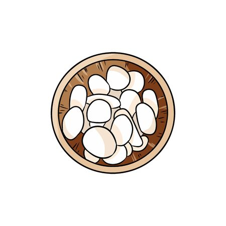 Wooden bowl with white sea pebble stones comic style doodle. Boho cartoon drawing of stones in a bowl. Isolated on white background lineart image