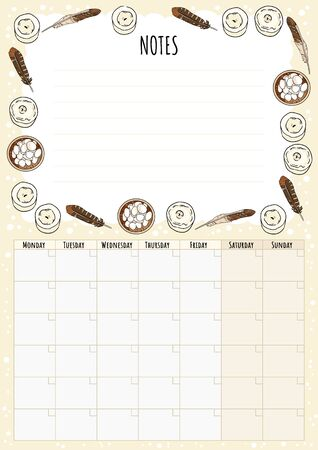 Hygge monthly calendar with boho elements and notes to do list. Lagom scandinavian planner. Cute cartoon style hygge template for agenda and planners. Feathers, candles magical decorations