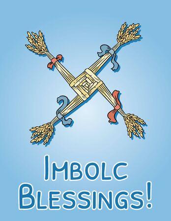 Imbolc Blessings beginning of spring pagan holiday postcard. Brigid's Cross symbol. Vector banner Vectores