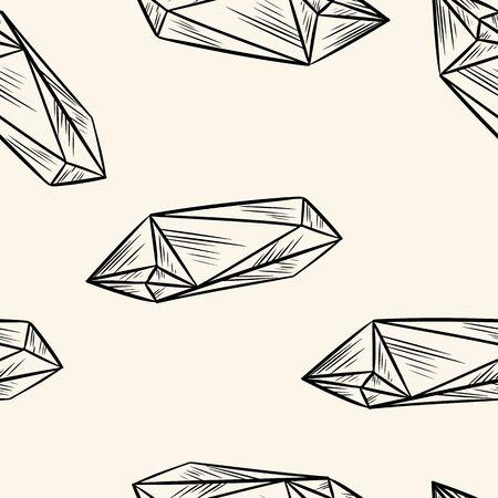 Nahtloses Muster des Kristallgekritzels. Niedliche Cartoon-Medien heben grafisches Symbol hervor. Gemütliche Boho-Stil Vorlage Textur Hintergrundkachel