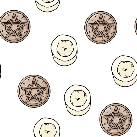 Candles and magic pentacles comic style doodles top view seamless pattern. Cozy wiccan altar with wooden pentagrams and candles boho template background tile
