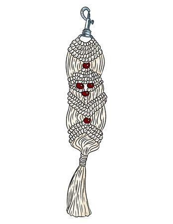 Macrame boho style keychain. Textile knotting design charm. Llinear modern indigenous macrame symbol