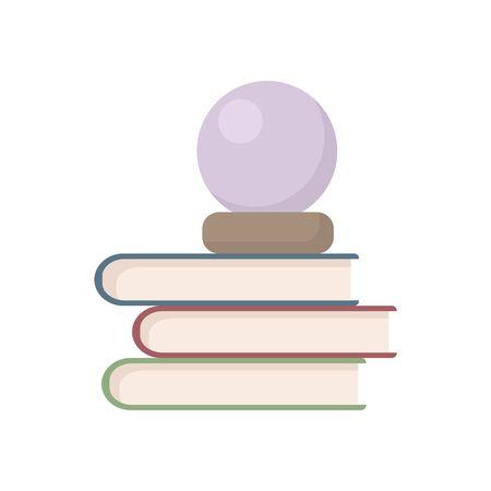 Stapel Bücher und Weissagung Kristallkugel-Vektor-Illustration. Flacher Stil Stapel Bücher und Prophet Ball isoliert auf weißem Hintergrund. Wahrsagerin oder Tarot-Lese-Shop-Symbol