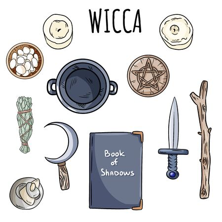 Wiccan doodles set. Collection of witchcraft magical items on altar for occult rituals. Hand drawn pagan elements collection. Occult altar symbols, cauldron, pentacle, athame, boline