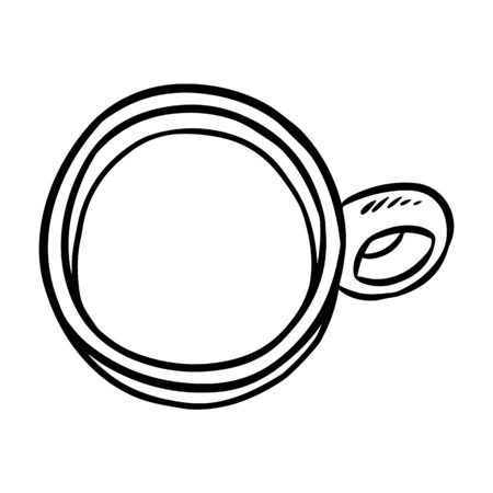 Cup doodle sketch. Hand drawn cartoon mug image
