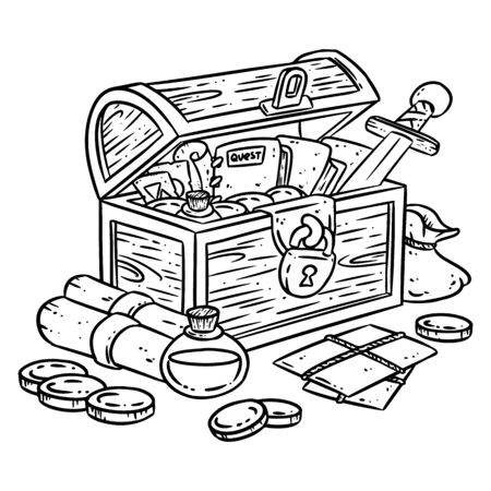 Explorer chest illustration for coloring. Fantasy character chest with adventure items. Treasure comic style doodle. Gold coins, sword and potions