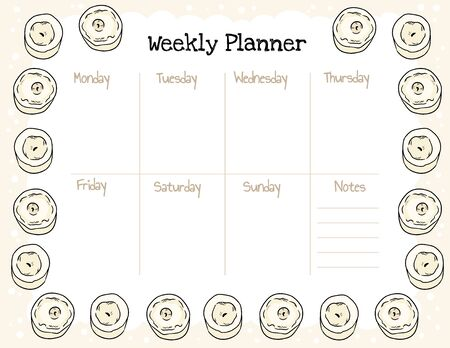 Cozy boho weekly planner and to do list with candles ornament. Cute template for agenda, planners and check lists. Stationary mockup