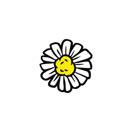 Daisy chamomile flower doodle isolated on white background vector illustration. Hand drawn camomile icon glyph symbol Ilustración de vector