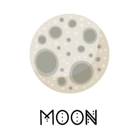 Stylized full Moon isolated cartoon image. Astronomic logo image. Media glyph icon Vettoriali
