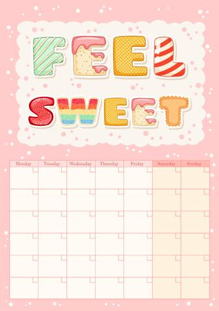Feel sweet cute colorful monthly calendar with ice cream elements. Tasty summer planner. Cute cartoon style hygge template for agenda, planners, check lists, stationery