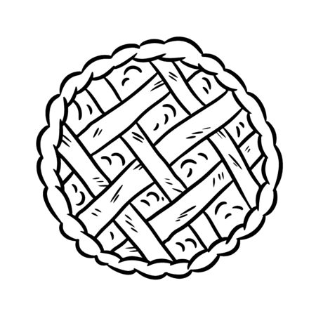 Hand drawn doodle pie. Top view bakery black and white media glyph vector symbol