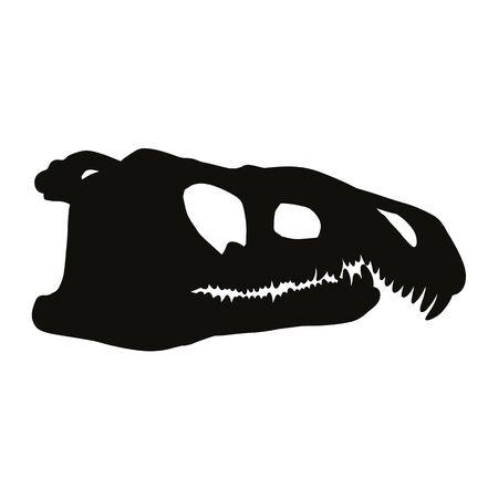 Archosaurus rossicus fossilized skullsilhouette image. Carnivorous archosauriform reptile dinosaur fossil illustration black print