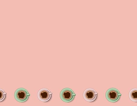 Tea and coffee cups seamless pattern in pastel colors. Morning cafe or restaurant breakfast. Letter format vector decoration background tile. Space for text