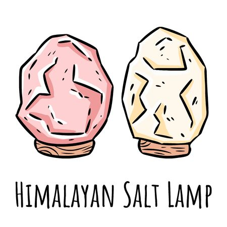 Himalayan salt lamps doodles. Modern indigenous illustration with salt crystals. Relax concept symbols