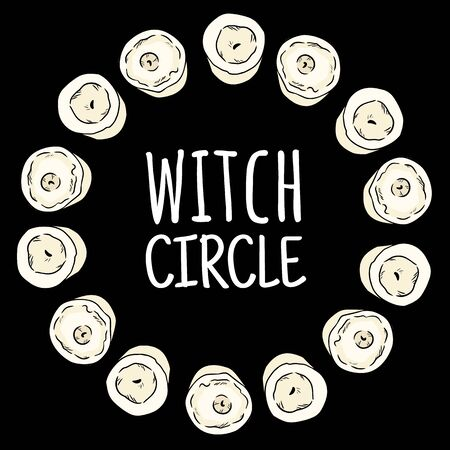 Witch circle boho candles doodles in a wreath composition. Vector wiccan magical circle logo image