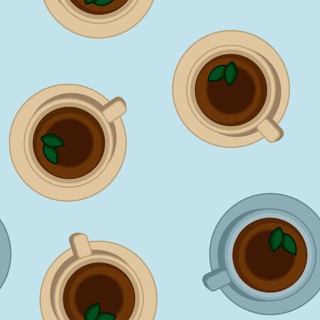 Tea cups seamless vector pattern. Morning cafe or restaurant breakfast. Top view vector image.