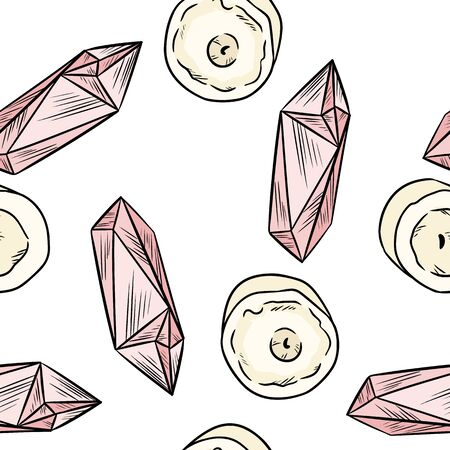 Candles and pink quartz crystals comic style doodles top view seamless pattern. Cozy boho template of stock illustration for wrapping design, wallpaper, texture. Background repeatable tile.