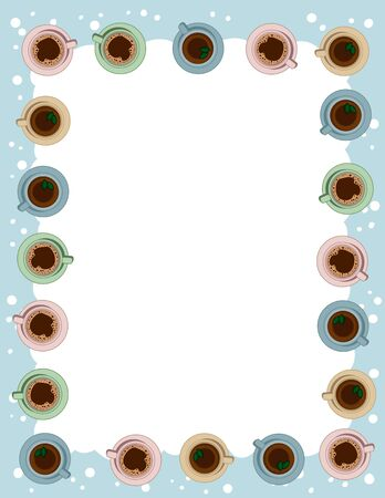 Tea and coffee cups postcard template in pastel colors. Morning cafe or restaurant breakfast. Letter format vector banner with place for text. Cozy boho poster candles ornament Ilustração