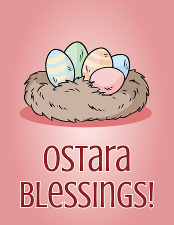 Ostara Blessings pagan holiday postcard. Easter eggs in a nest vector image.