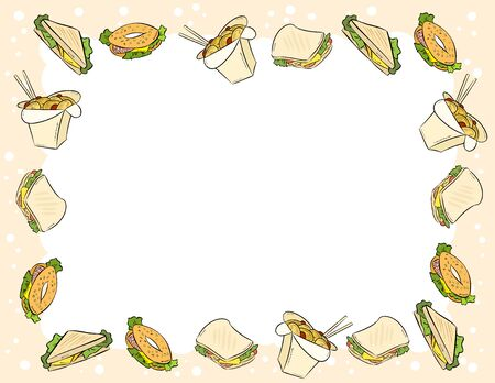 Fast food and sandwiches ornament in comic style doodles top view postcard template. Letter format banner with place for text. Tasty stationary mockup