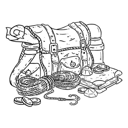 Adventurer pack lineart illustration for coloring. Fantasy character pouch with explorer items. Treasure bag comic style doodle.