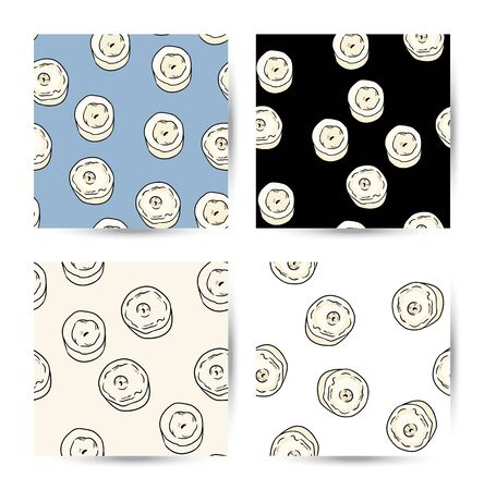 Set of candles background comic style doodles seamless patterns. Collection of vector boho template background tiles Иллюстрация