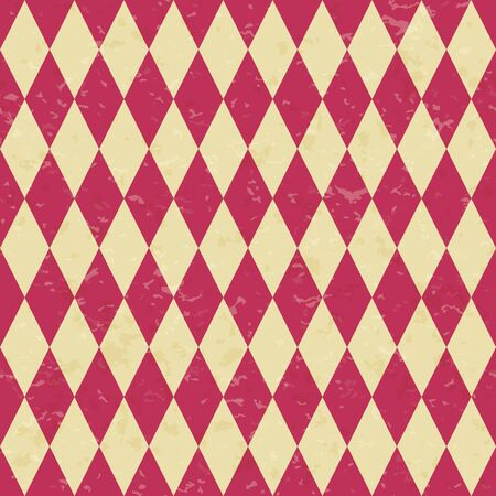 Circus carnival retro vintage dominoes seamless pattern. Red diamond shaped rhombuses. Textured old fashioned retro graphic template. Vector texture background tile