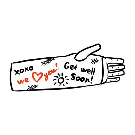 Broken arm cast doodle with positive writings from friends. Injured limb in gypsum plaster. Good get well soon wishes. Media glyph graphic icon