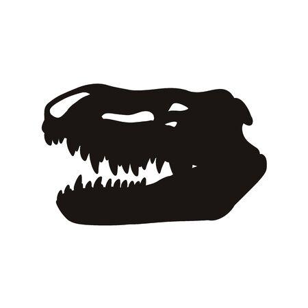 Prestosuchus chiniquensis fossilized skull hsilhouette image. Carnivorous pseudosuchians dinosaur fossil illustration black print