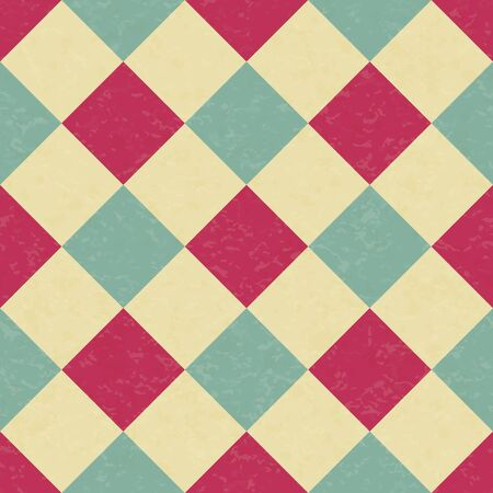 Circus carnival retro vintage dominoes seamless pattern. Argyle diamond shaped rhombuses. Textured old fashioned retro graphic template. Vector background tile Ilustração