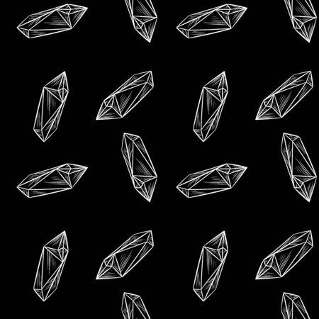 Minimalistic crystal doodles seamless pattern background. Chalkboard hand drawn quartz figures Cute cartoon vector quartz amethyst wallpaper. Cozy boho style template background tile Ilustração